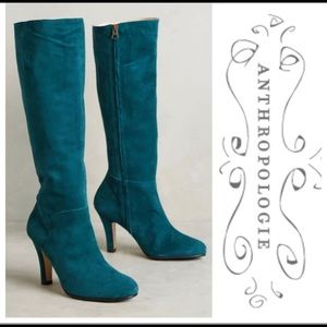 Anthropologie boots 8.5/39 teal knee high EUC